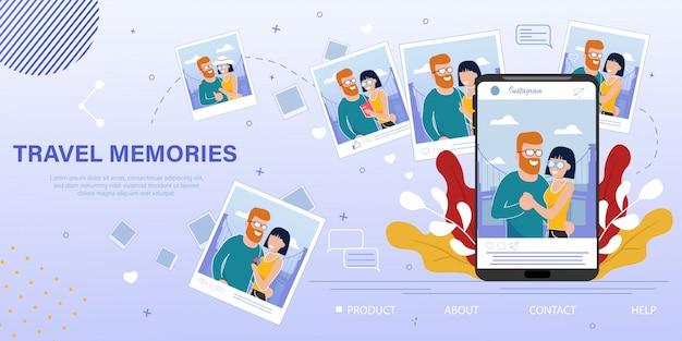 旅行写真の思い出ブログフラット広告バナー Premiumベクター