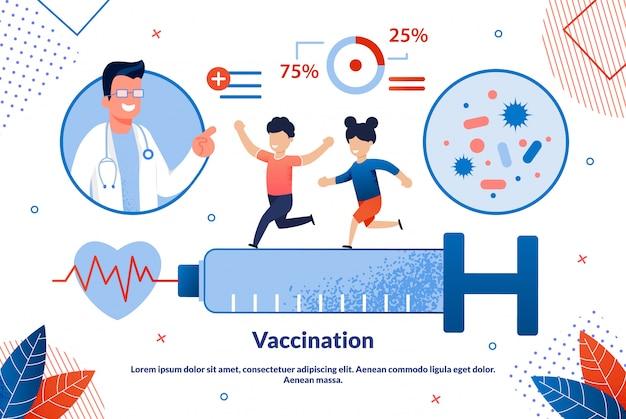 明るいバナー碑文予防接種漫画。 Premiumベクター