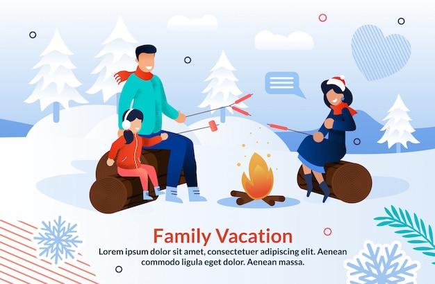 Семья радостно кемпинг в зимний сезон Premium векторы