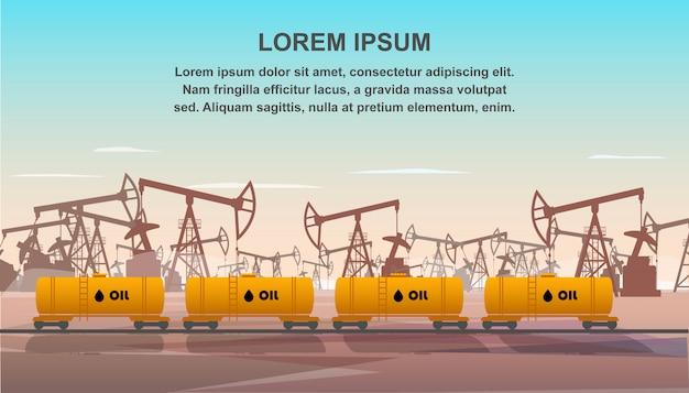 石油産業輸送のための貨物列車 Premiumベクター