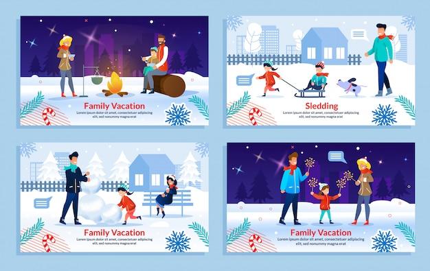 Счастливый семейный зимний отдых на каникулах Premium векторы