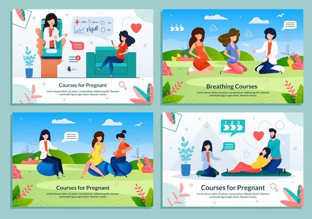 妊娠のためのコースを提供する広告フラットバナーセット Premiumベクター