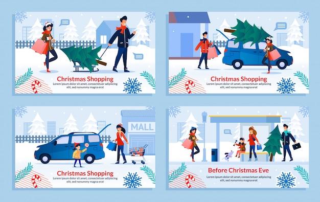 ファミリークリスマスショッピングと休日の準備セット Premiumベクター