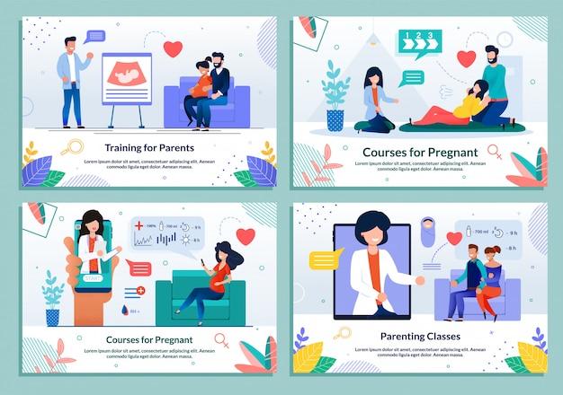Набор учебных курсов для беременных и родителей Premium векторы