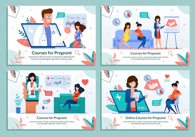 妊娠中のフラットバナーセット広告コース Premiumベクター