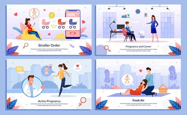 Карьера для беременной, набор шаблонов для отдыха Premium векторы