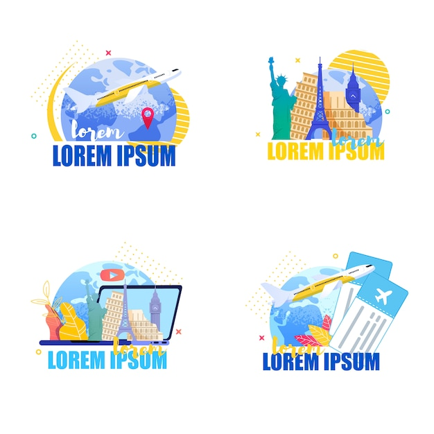 Плоский набор баннеров иллюстрация путешествие вокруг земли Premium векторы