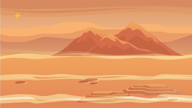 パノラマ山の風景赤い惑星の表面。 Premiumベクター