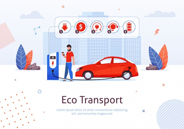 電気自動車の充電、エコテックによる自然保護。 Premiumベクター