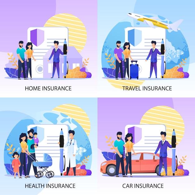 財産、健康、旅行保険サービスセット Premiumベクター