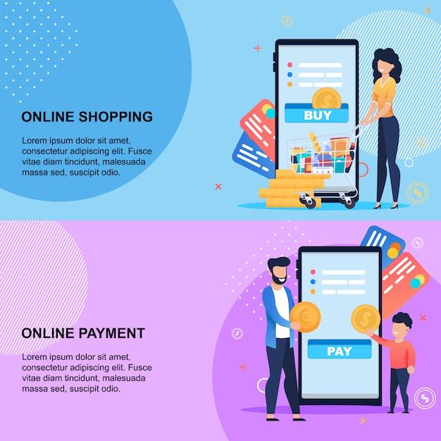 モバイルセットでのオンラインショッピングと支払いサービス Premiumベクター