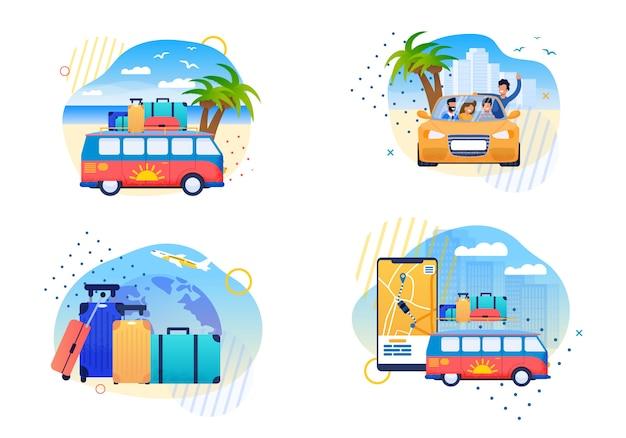孤立した幸せな夏の旅行フラットベクトル漫画 Premiumベクター