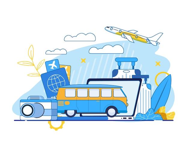 Летние путешествия и туризм реклама иллюстрация Premium векторы
