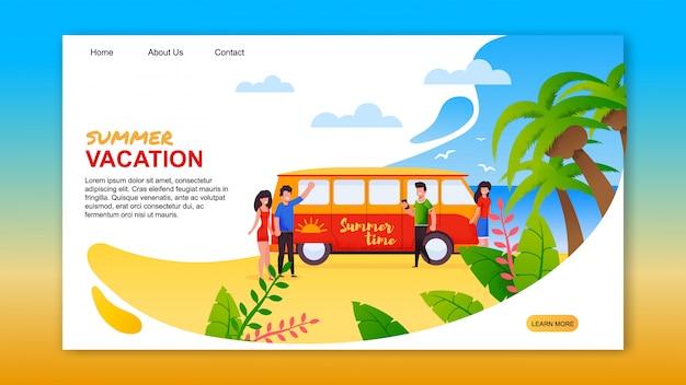 Летние каникулы на тропической островной посадочной странице Premium векторы