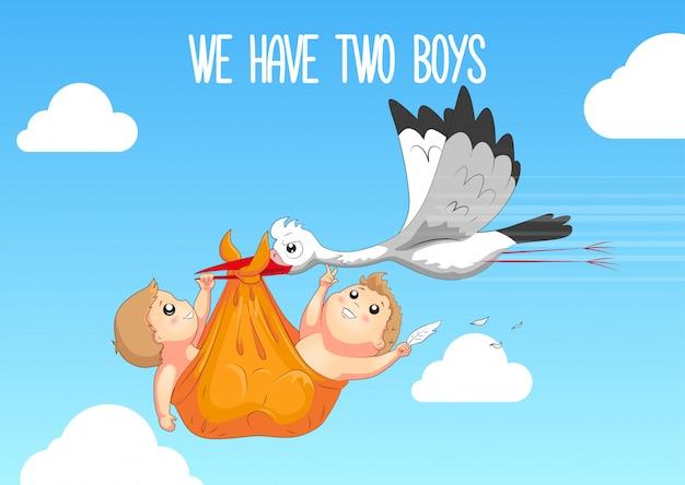 コウノトリと赤ちゃん Premiumベクター