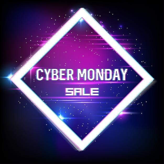ネオンとグリッチ効果を備えたサイバー月曜日のセールのバナー。サイバーマンデー、オンラインショッピングとマーケティング。ポスター。 。 Premiumベクター