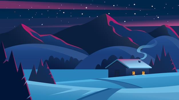 Рождественский ночной пейзаж с горами и одинокой хижиной. сочельник пейзаж. уютный дом в зимнем лесу. зимний пейзаж Premium векторы