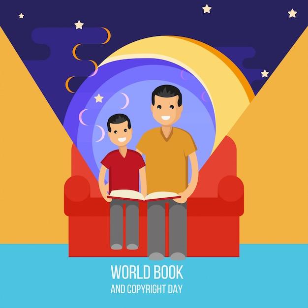 父と息子が本を読む Premiumベクター