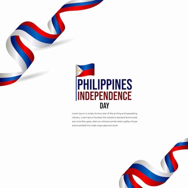 ハッピーフィリピン独立記念日のお祝いベクトルテンプレート Premiumベクター