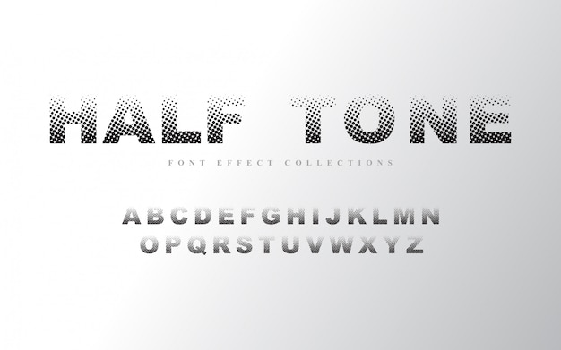 ハーフトーンアルファベットフォントテンプレート Premiumベクター