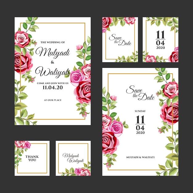 装飾的な花飾り結婚式招待状のテンプレート Premiumベクター