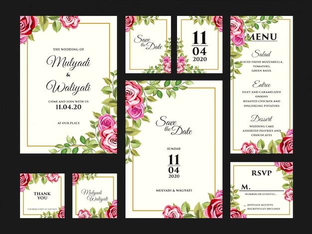 完全な花の結婚式の招待カードのデザインテンプレートセット Premiumベクター