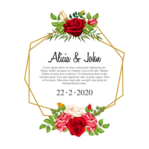 結婚式の招待状のための水彩の花のフレーム Premiumベクター