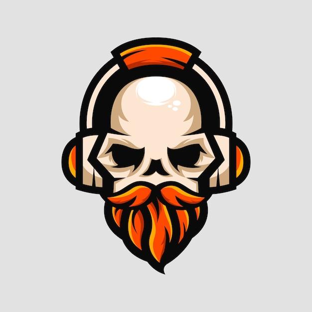 ひげ剃りの頭蓋骨、ヘッドフォン、ゲーマー、音楽、マスコット Premiumベクター