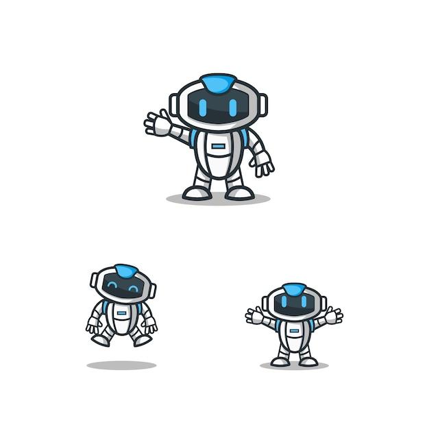 ロボットキャラクターロゴマスコットテンプレートセット Premiumベクター