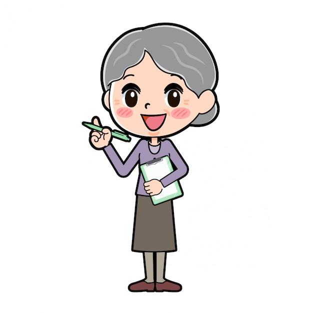 アウトラインパープルウェアおばあちゃんプレゼンテーション Premiumベクター