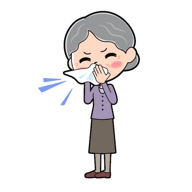 アウトラインパープルウェアおばあちゃん鼻炎 Premiumベクター