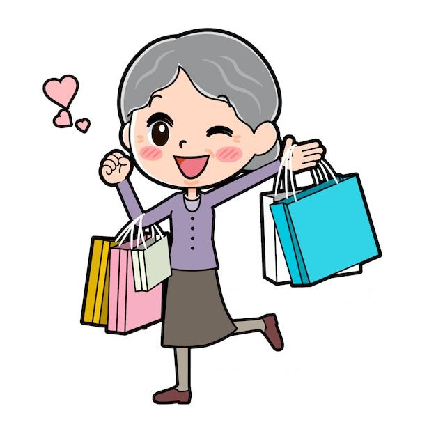 アウトラインパープルウェアおばあちゃんの買い物袋 Premiumベクター