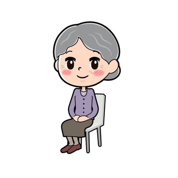 アウトラインパープルウェアおばあちゃん座り椅子 Premiumベクター