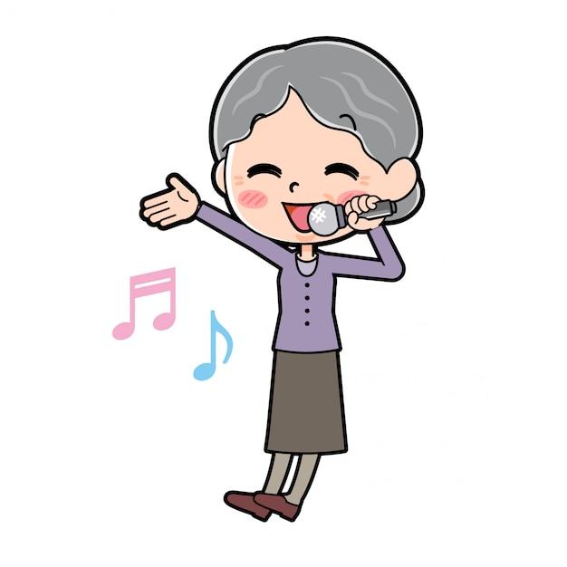 アウトラインパープルウェアおばあちゃんの歌高 Premiumベクター