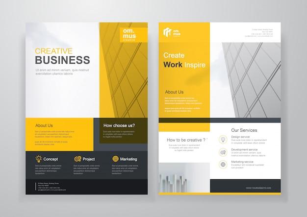 黄色のビジネス間仕切りパンフレットまたはチラシ Premiumベクター