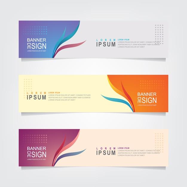 Набор абстрактных цветочный баннер дизайн шаблона Premium векторы