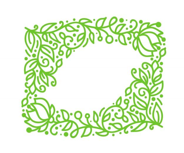 グリーティングカードの緑のモノライン書道繁栄フレーム Premiumベクター
