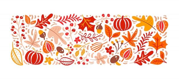 秋の要素。キノコ、ドングリ、カエデの葉、カボチャ Premiumベクター