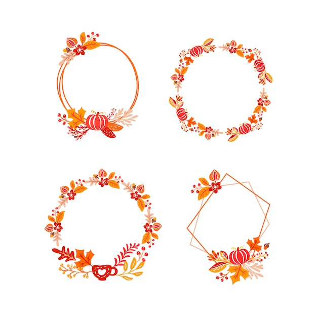 フレーム秋の花束の花輪 Premiumベクター