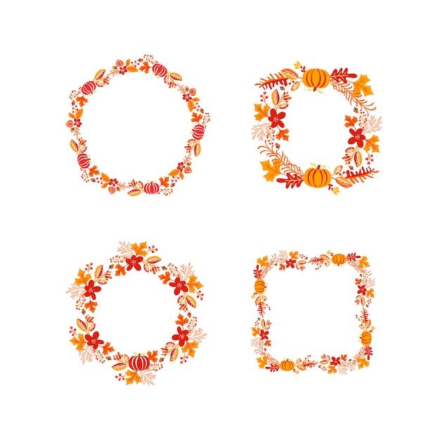 バンドルフレーム秋の花束花輪 Premiumベクター