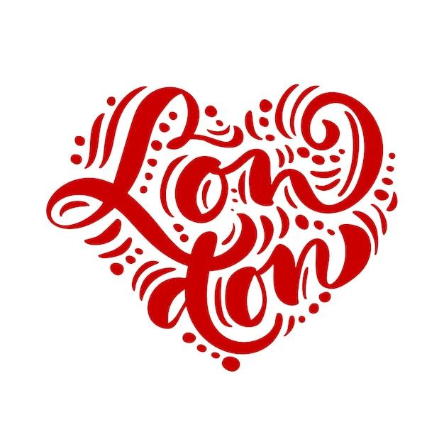 Лондонский текст каллиграфии в форме сердца Premium векторы