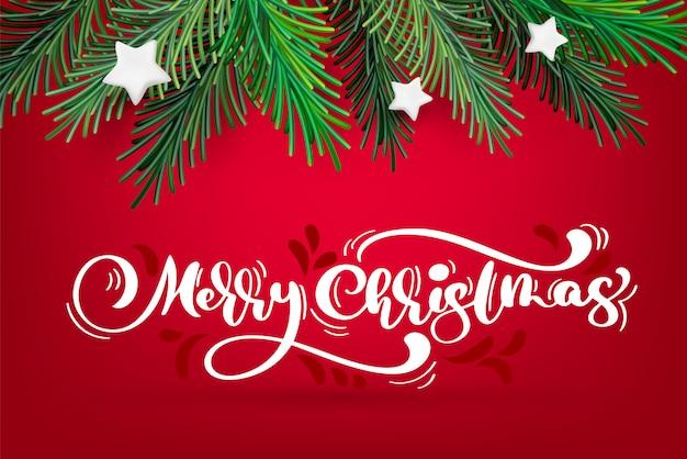 Новогодний и рождественский венок с белой каллиграфией Premium векторы