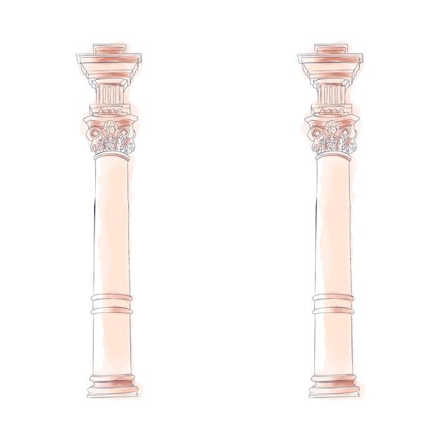 Стилизованные греческие каракули колонны дорические ионные коринфские колонны Premium векторы