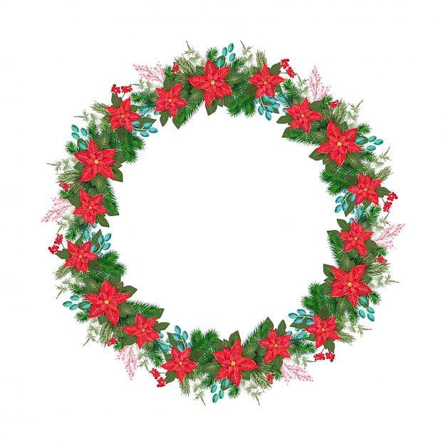 花のポインセチアと赤い果実の現実的なクリスマスベクトルの花輪 Premiumベクター