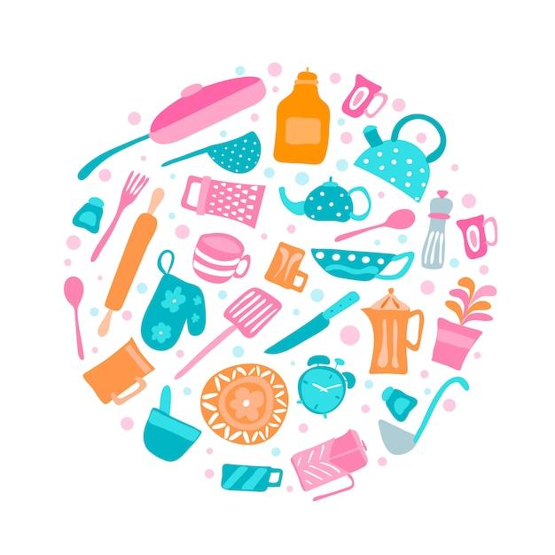 Набор силуэт кухонной утвари и коллекции посуды икон в круглых Premium векторы