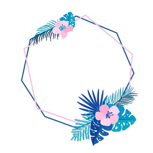 Геометрический летний венок с тропической пальмой и место для текста. плоская трава абстрактный вектор Premium векторы