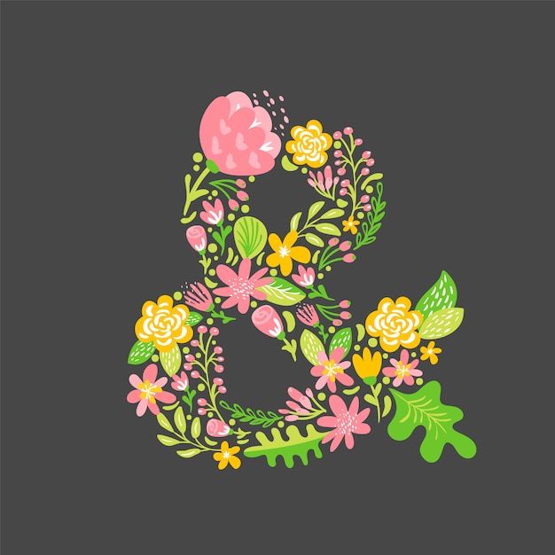 Цветочный летний амперсанд. цветочная столица свадебной азбуки Premium векторы