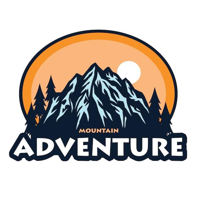 マウンテンアドベンチャーキャンプクライミングテンプレートアイコンのロゴ Premiumベクター
