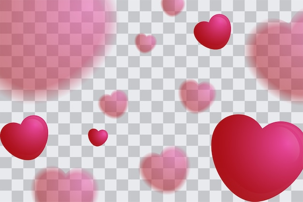 ぼんやりした心の風船の背景バレンタインデーポスター Premiumベクター
