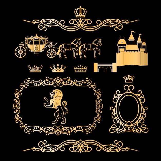 Золотые старинные королевские элементы Premium векторы